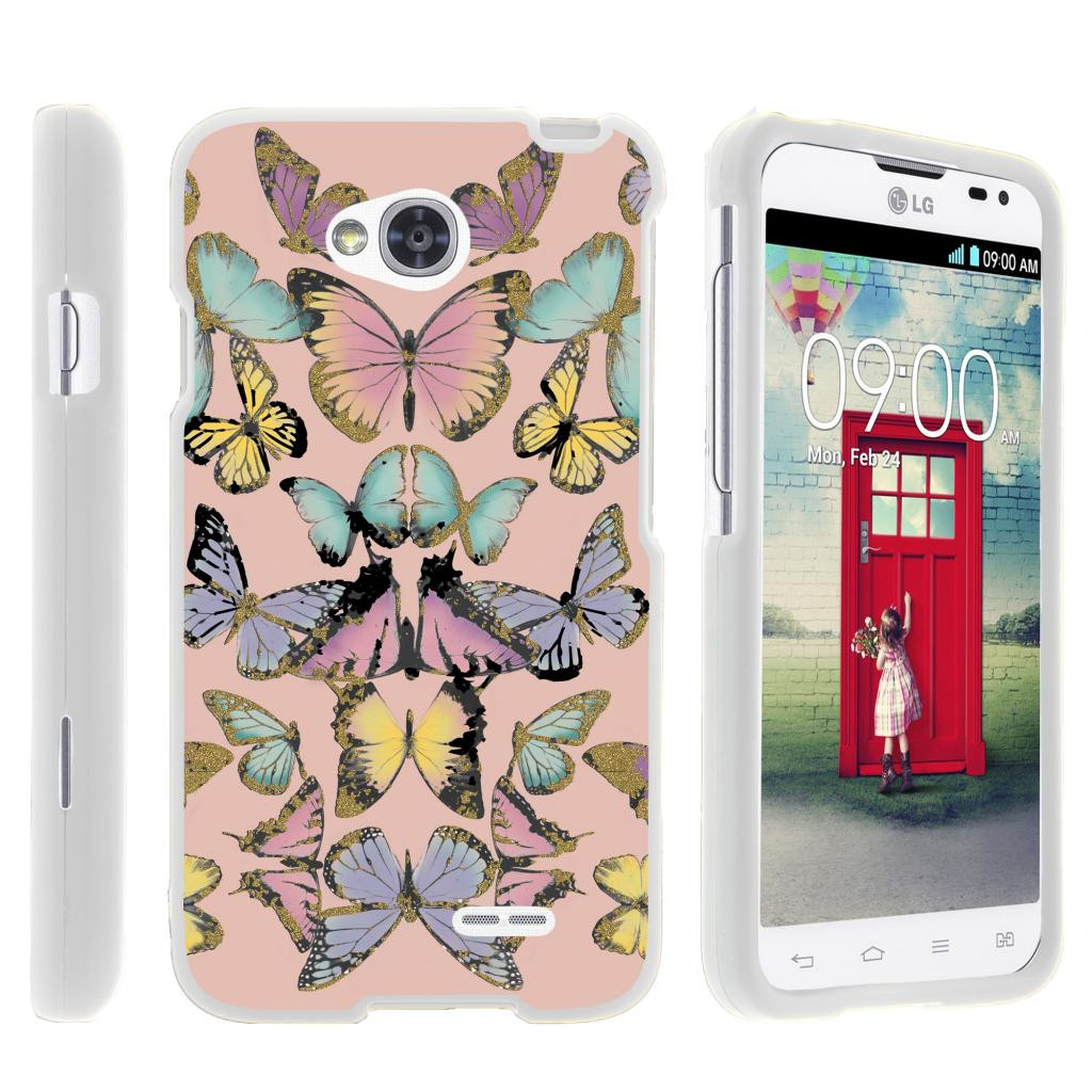 LG Optimus L70, Ultimate 2, Optimus Exceed, [SNAP SHELL][White] Hard White Plastic Case with Non Slip Matte Coating with Custom Designs - Butterfly Symmetry