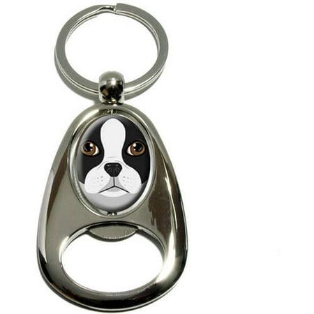 Boston Terrier Dog Pet, Chrome Plated Metal Spinning Oval Design Bottle Opener Keychain Key Ring