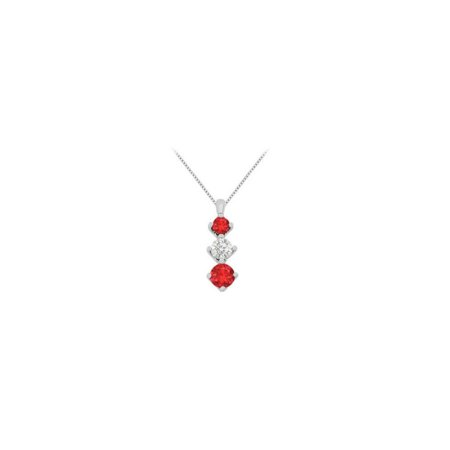 Created Ruby Stone and White CZ Graduated Necklace in White Gold 14K Total Gem Weight 1.90 Carat