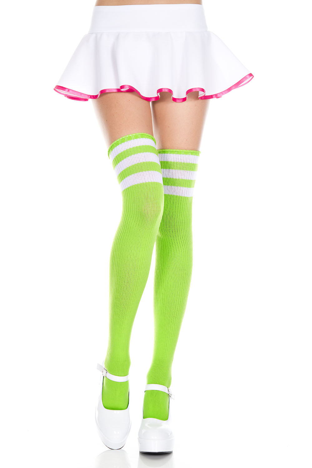 Athlete acrylic thigh hi with striped top 4245-LIME GREEN/WHITE