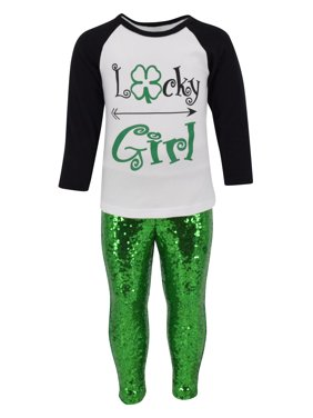 Unique Baby Girls St. Patrick's Day Lucky Girl 2-Piece Sequins Legging Set (7)