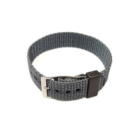 Nylon One Piece Slip Thru 16mm Gray Watch Strap (15mm Nylon Watch Band)