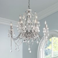 "Vienna Full Spectrum Grace 30"" Wide Chrome and Crystal 12-Light Chandelier"