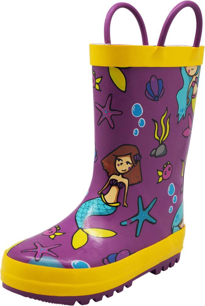 Norty Toddlers Kids Boys Girls Waterproof Rubber Printed Rain Boots -13 Patterns, 40133 Black Owls / 9MUSToddler