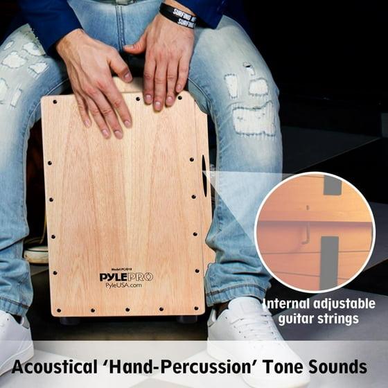 Pyle Pcjd18 Stringed Jam Cajon Wooden Cajon Percussion Box