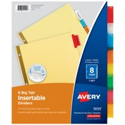 Avery 8-Tab Dividers, Insertable Multicolor Big Tabs, 1 Set (11111)