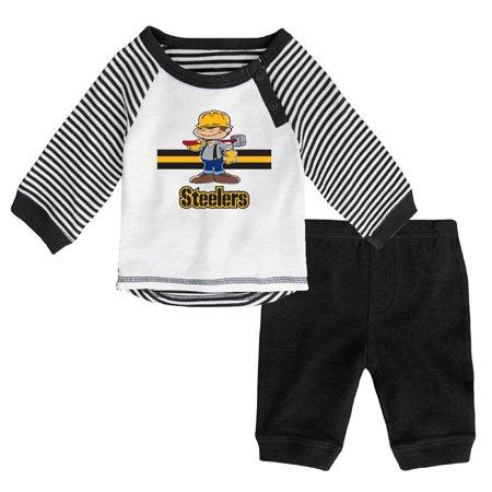 best cheap d6be6 540e7 Newborn & Infant White/Black Pittsburgh Steelers Long Sleeve Pants Set