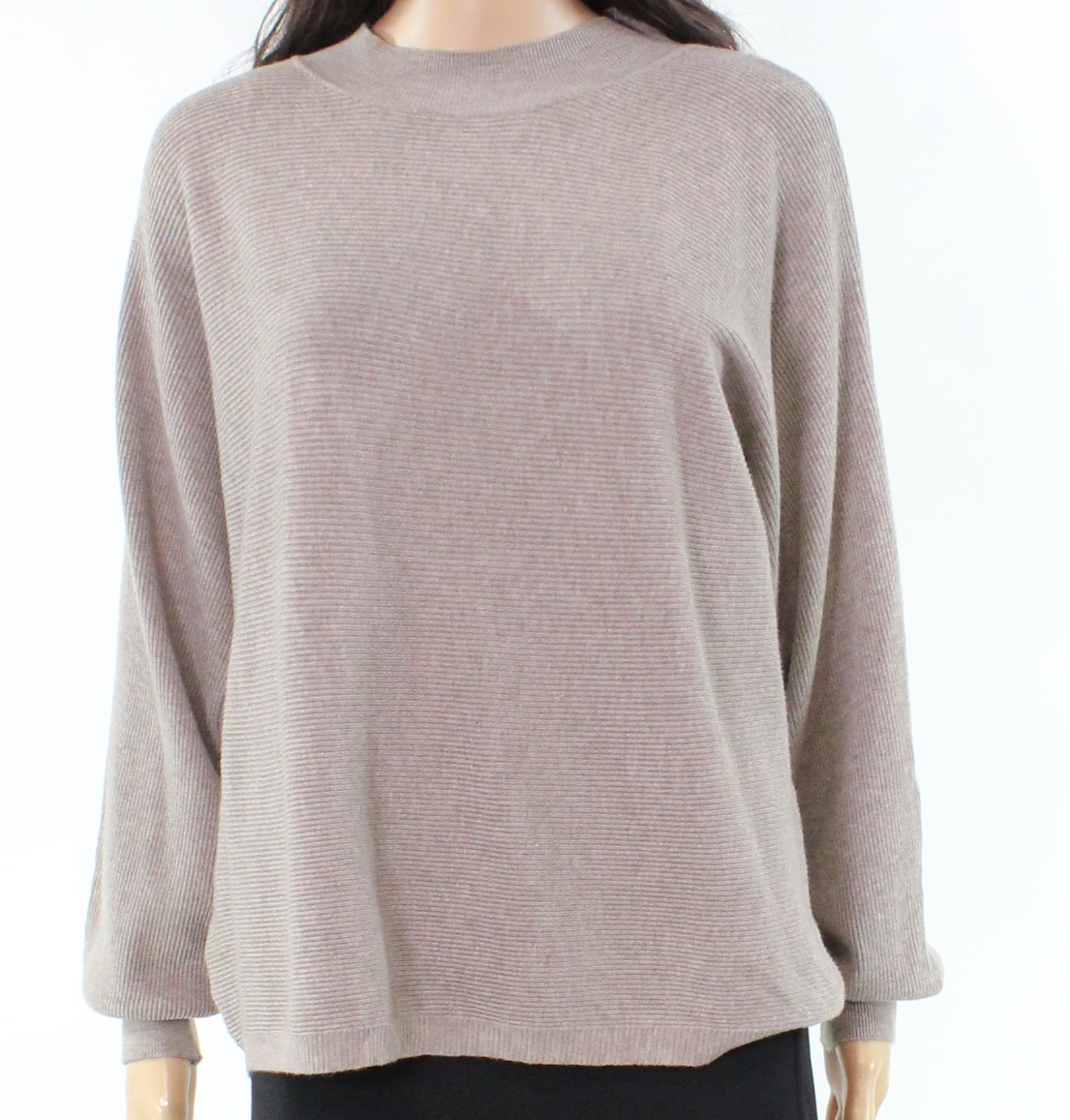 Designer NEW Beige Ribbed-Knit Dolman-Sleeve Small S Tunic Sweater