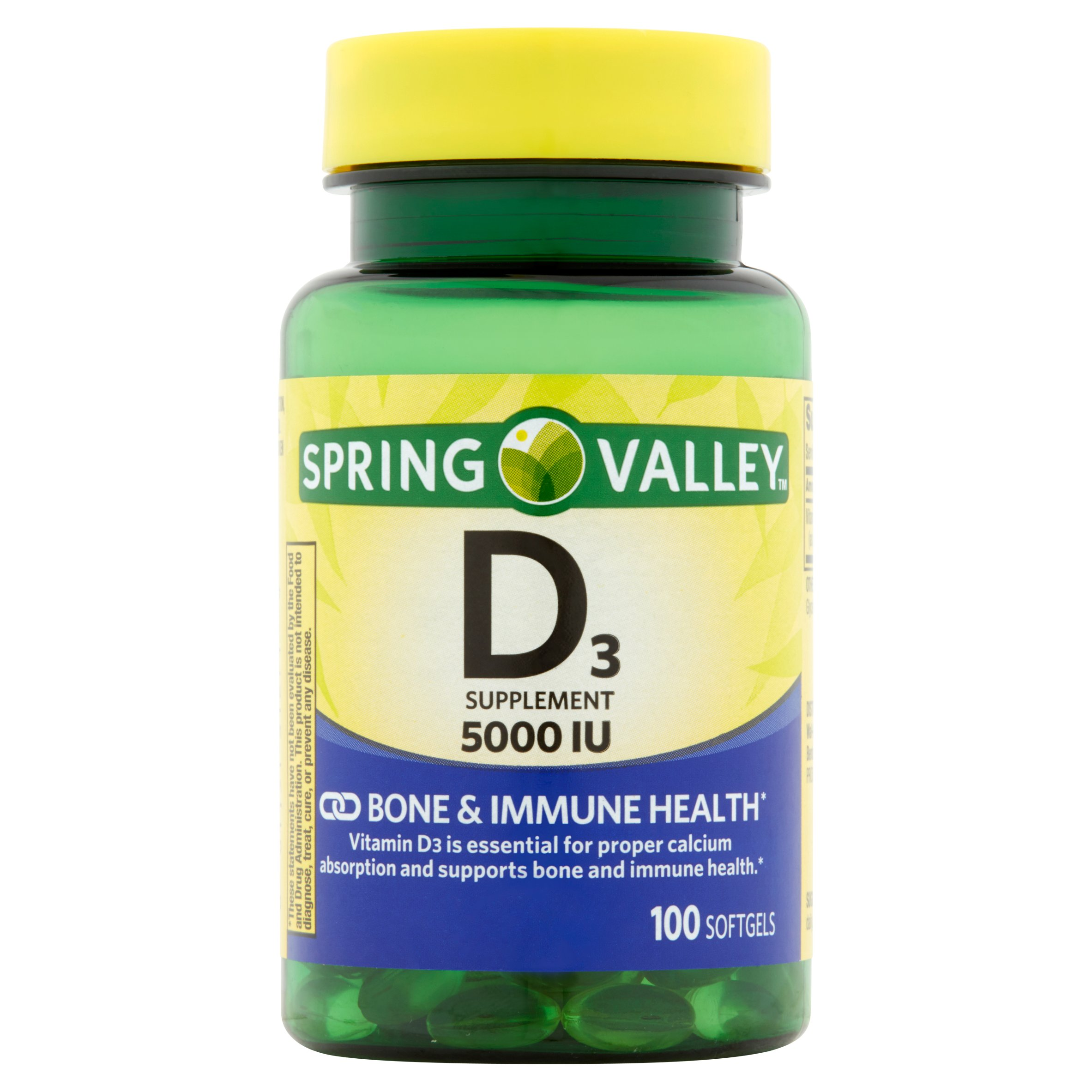 Spring Valley Vitamin D3 Softgels, 125 mcg (5000 IU), 100 Ct