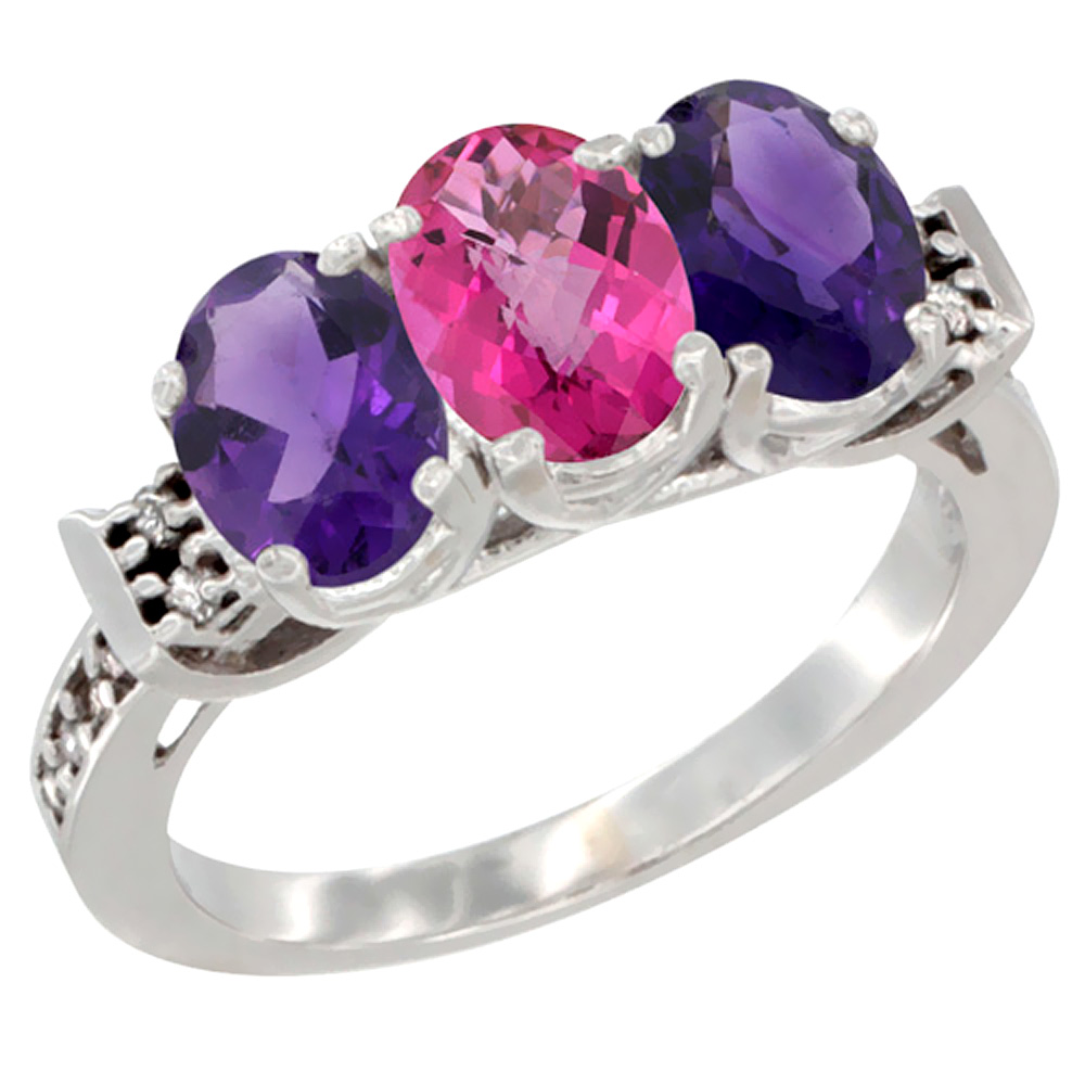 10K White Gold Natural Pink Topaz & Amethyst Sides Ring 3-Stone Oval 7x5 mm Diamond Accent, sizes 5 10 by WorldJewels