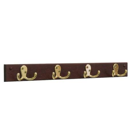- Wooden Mallet 4 Double Prong Hook Coat Rack