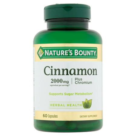Nature's Bounty Cinnamon 2000mg Plus Chromium, Dietary Supplement Capsules, 60 Ct
