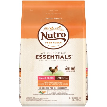 NUTRO WHOLESOME ESSENTIALS Adult Small Breed Dry Dog Food Farm-Raised Chicken, Brown Rice & Sweet Potato Recipe, 5 lb. Bag