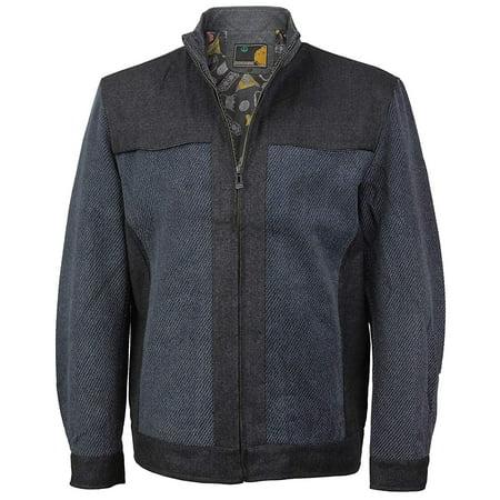 LW Men's Stylish Wool Blend Zip Up Multi Pocket Two Tone Lined Jacket (LJ122 Blue, 2XL) - Lined Two Pocket Coat
