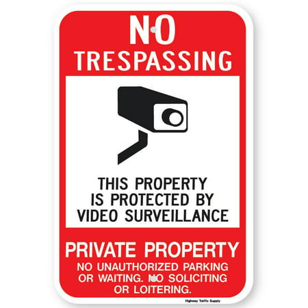 "NO TRESPASSING THIS PROPERTY IS PROTECTED Sign 18""x24"" 3M High Intensity Prismatic Reflective. By Highway Traffic Supply."