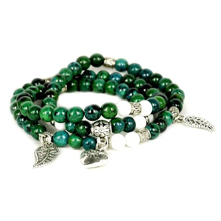 Greek Cuff Bracelet (Fashion Jewelry dark green Jade gemstone wrap bracelet with 3 charms - 91220 )