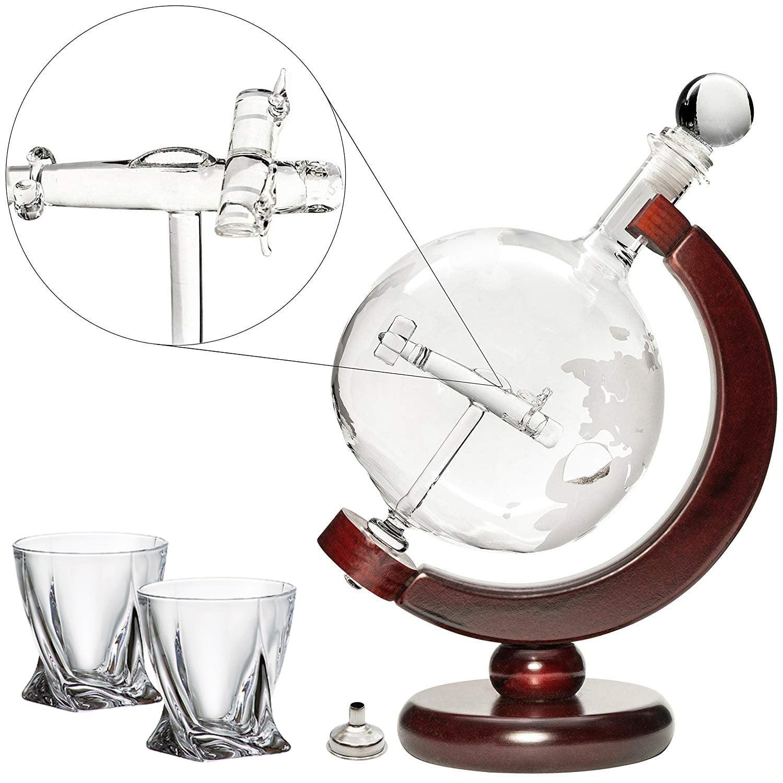 Denizli Spirits Large 50 Oz 'Plane' Handmade Whiskey Liquor Globe Decanter Set