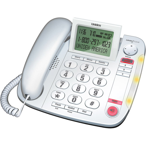 Uniden CEZ260W Big Button Desktop Corded Phone, White
