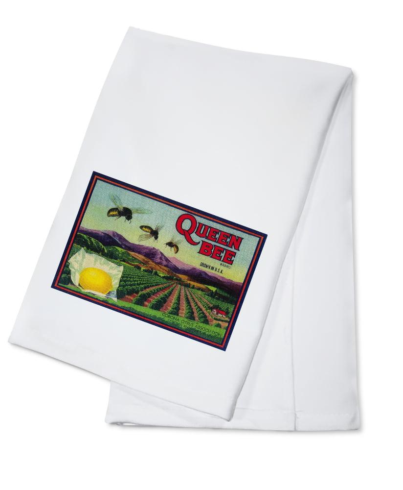 Queen Bee Lemon Vintage Label (100% Cotton Kitchen Towel) by Lantern Press