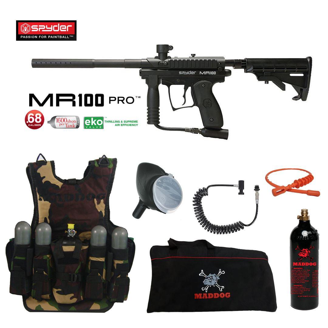 Spyder MR100 Pro Maddog Lieutenant Tactical Camo Vest Paintball Gun Package Black by