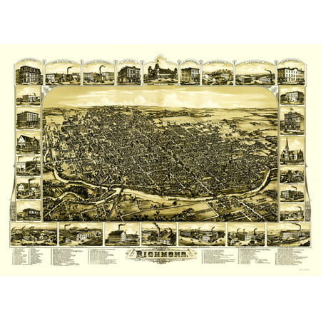 Old Panoramic Print   Richmond Indiana   Gilman 1884   23 X 31 82