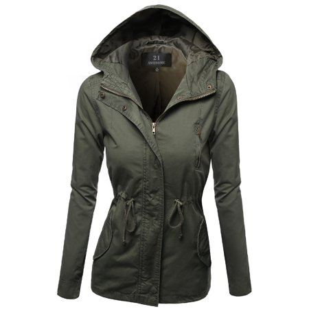 FashionOutfit Women's Hooded Drawstring Military Jacket Parka Coat Outerwear