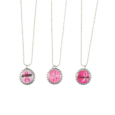 Fun Express - Pink Ribbon Bottle Cap Necklace - Jewelry - Adult Jewelry - Misc Adult Jewelry - 12 Pieces ()