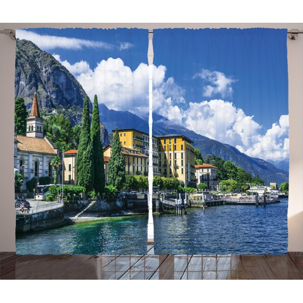 Italy Decor Curtains 2 Panels Set The Panoramic Landscape Of Lake Como Mountains And Clouds Digital