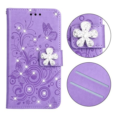 Galaxy S9 Stand Case, Allytech PU Leather Floral Butterfly Flip Wallet Case 3D Handmade Bling Shiny Diamonds Glitter Full Body Protector for Samsung Galaxy S9 Phone, (Full Diamond Bling Phone)