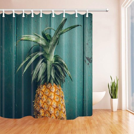 BOSDECO Pineapples Pineapple on Rustic Turquoise Wooden Polyester Fabric Bath Curtain, Bathroom Shower Curtain 66x72 inches - image 1 de 1
