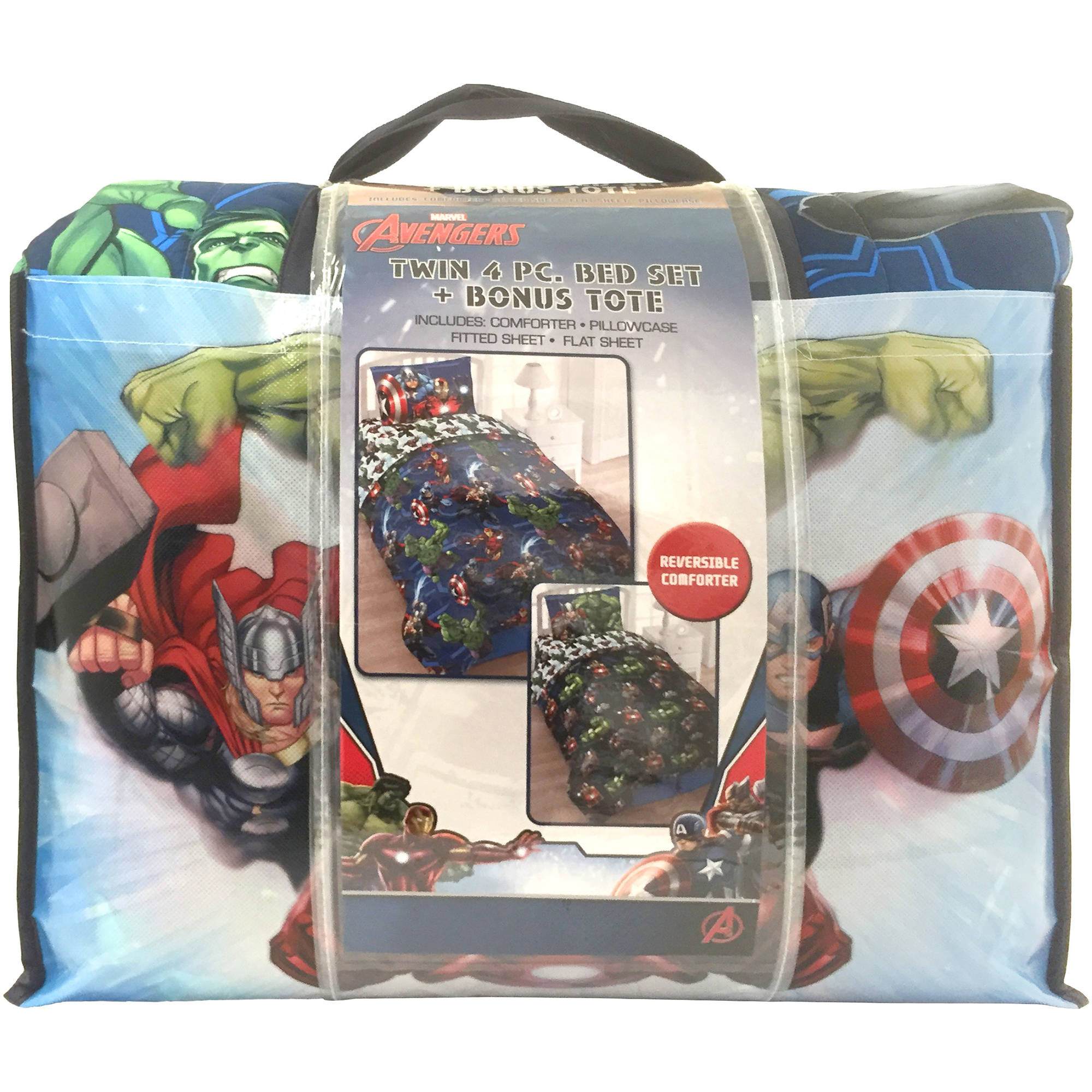 Avengers bedding set twin - Marvel Avengers Bed In A Bag 5 Piece Twin Bedding Set With Bonus Tote Walmart Com