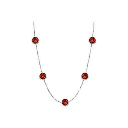 14K White Gold 16 Inch Necklace with Garnet one carat TGW - image 1 of 2