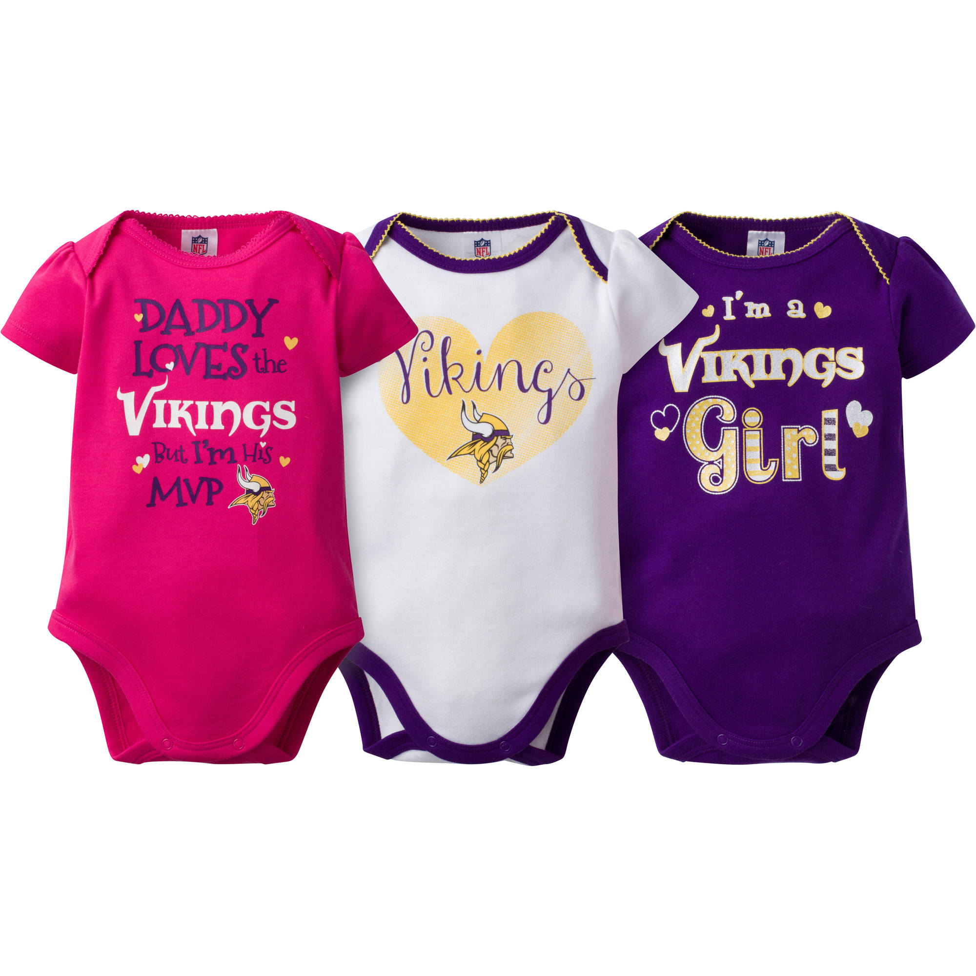 NFL Minnesota Vikings Baby Girls Short Sleeve Bodysuit Set, 3-Pack
