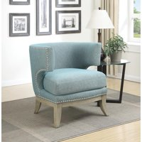 Accent Chair with Barrel Back Blue and Weathered Grey
