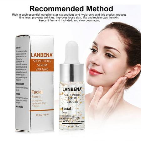 HURRISE LANBENA Six Peptides Serum 24K Gold Anti-aging Serum Anti-wrinkle Firm Fine Lines Moisturizing,Six Peptides Serum 24K Gold, Skin Firming -