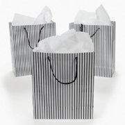Lot of 12 Paper Medium Black and White Wedding Bridal Party Gift Bags