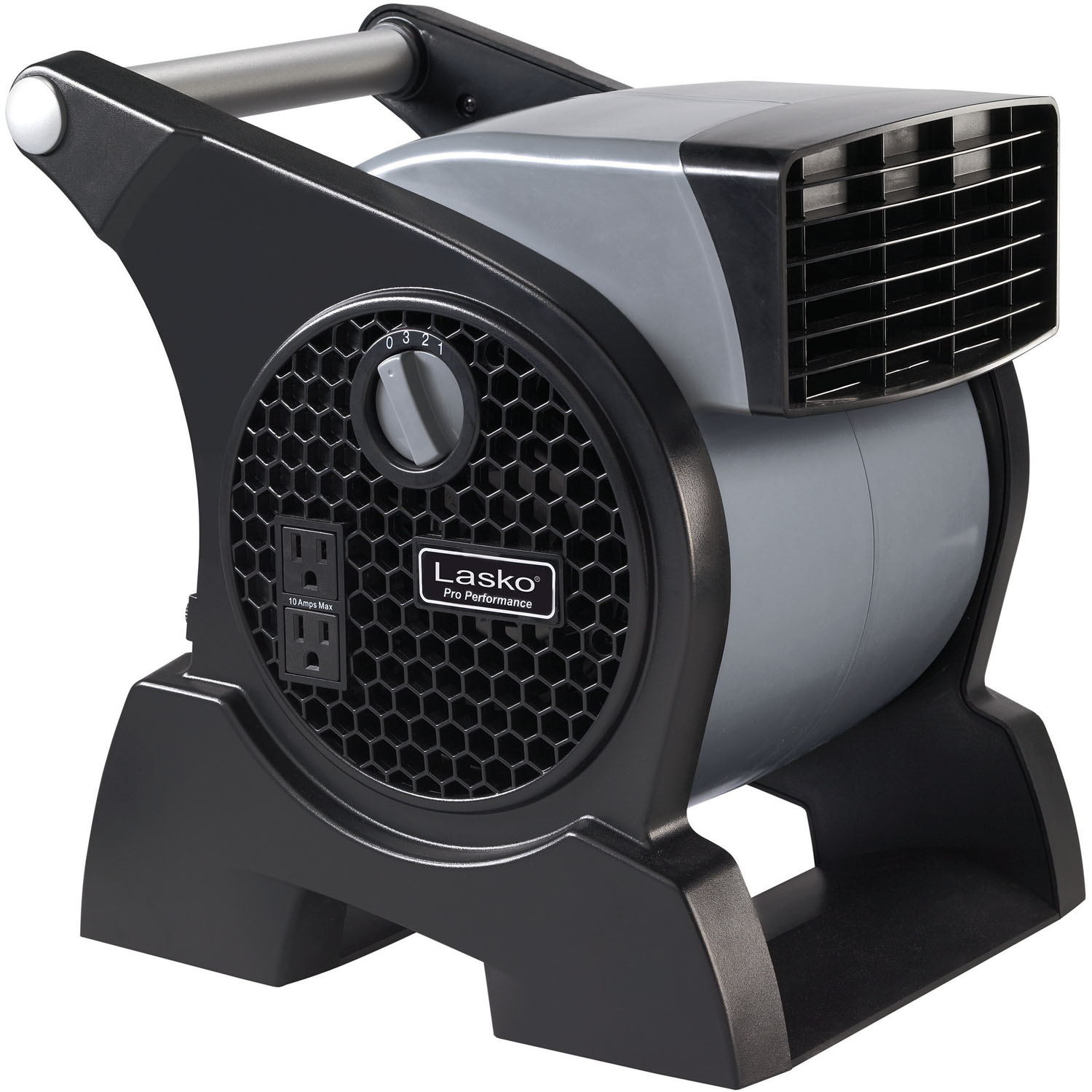 Lasko Pro Performance High Velocity Utility Fan with Integrated Power Outlets