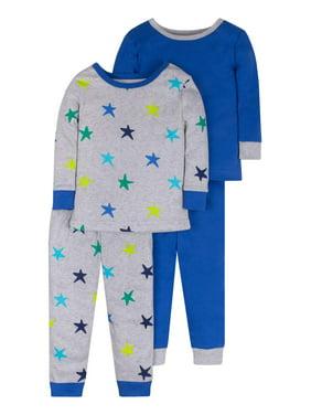Little Star Organic True Brights Baby and Toddler Boys Snug Fit Organic Cotton Pajamas, 4-Piece Set