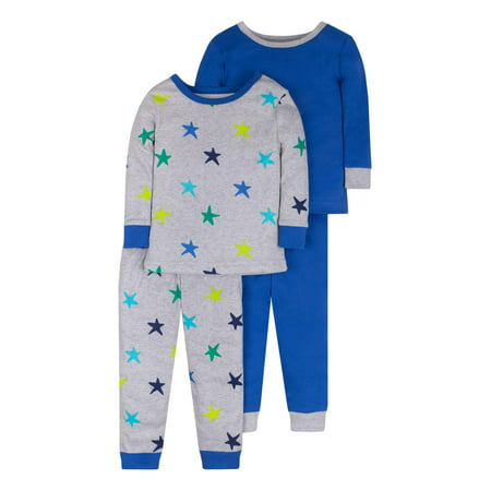 Pure Organic True Brights Tight Fit Pajamas, Sleepwear, Cotton Set, 4 Pc (Baby Boys & Toddler Boys)](Boys Christmas Jammies)