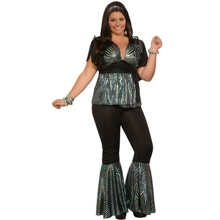Womens Curvy Disco Dancer Halloween Costume - Plus Size Belly Dancer Halloween Costume