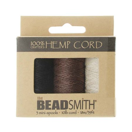 Natural Hemp Twine Bead Cord .5mm Three Color Assorted Variety Pack - 59 Feet