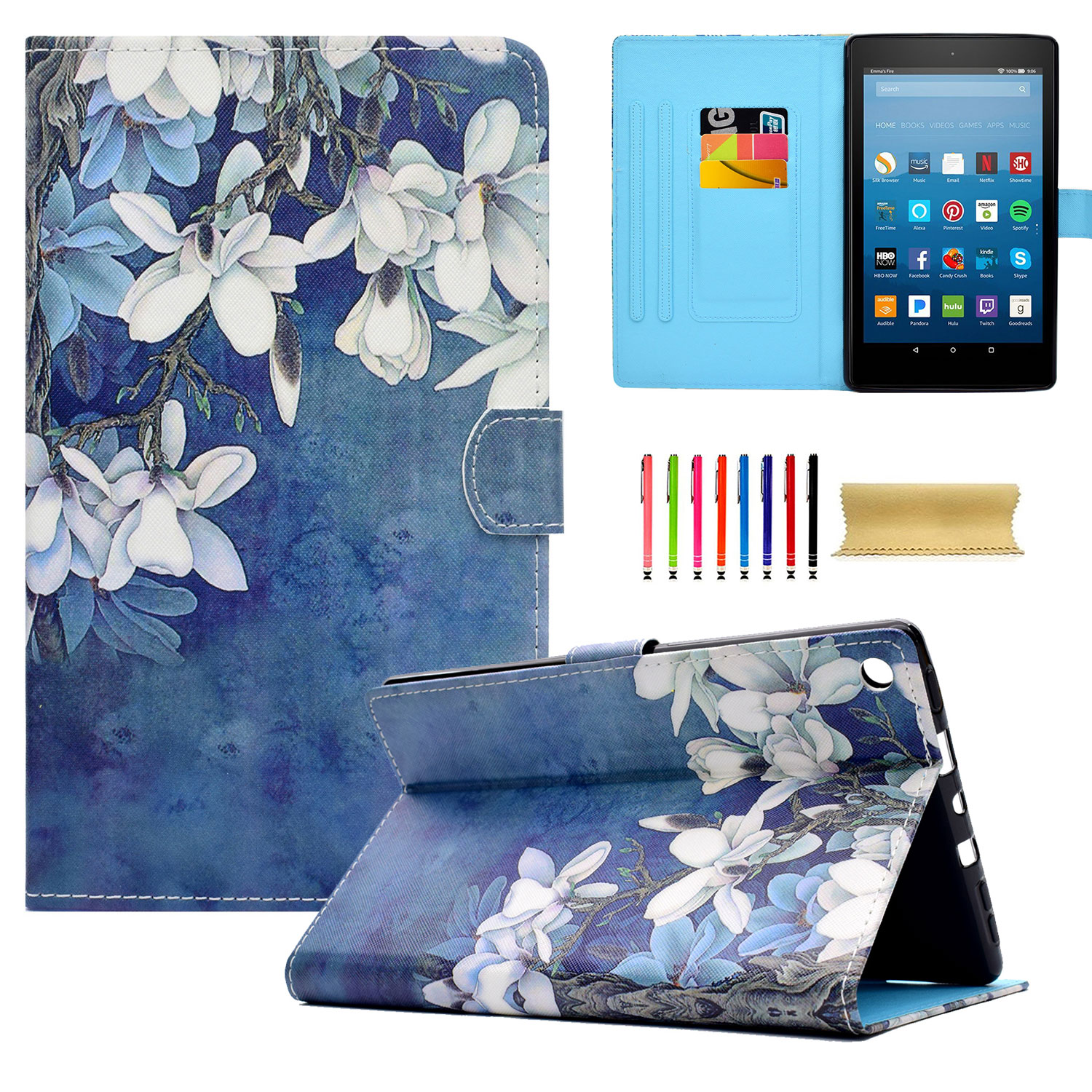 """Goodest Case for All-New Fire HD 8 2018 / Fire HD 8 2017/ Fire HD 8 2016/ Fire HD 8 2015 (8th/7th/6th/5th Gen)- Smart Stand Cover with Auto Wake / Sleep for Amazon Fire HD 8"""" Tablet, White Magnolias"""