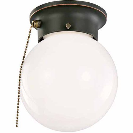 Design House 519264 1-Light Ceiling Mount Globe Light with Pull Chain, Oil Rubbed Bronze Finish