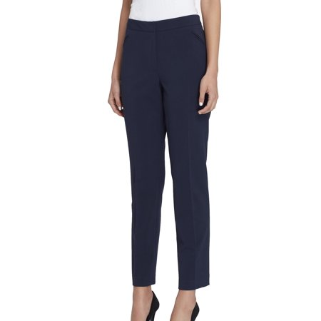 Tahari Women Suits (Tahari Navy Womens Flat-Front Dress Pants Stretch )