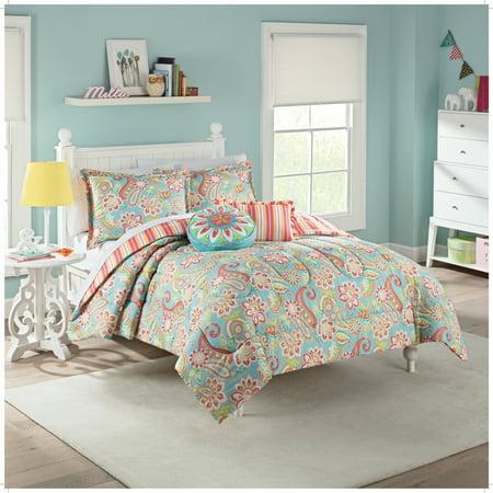 Waverly Kids Bright Paisley Floral & Stripes Reversible Comforter & Sham Set ()