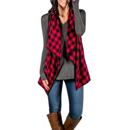 Casual Women Autumn Plaid Vest Jacket Cardigan