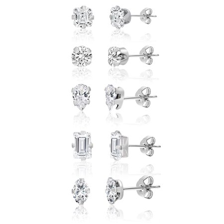 Silver Cat Earring (Lesa Michele Cubic Zirconia 5 Piece Stud Earring Set in Sterling Silver)