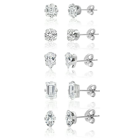 Lesa Michele Cubic Zirconia 5 Piece Stud Earring Set in Sterling Silver