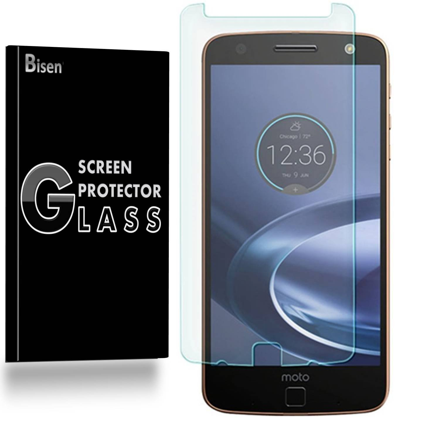 Motorola Moto Z Force / Motorola Moto Z Force Droid (2016 Release) [2-Pack BISEN] 9H Tempered Glass Screen Protector, Anti-Scratch, Anti-Shock, Shatterproof, Bubble Free