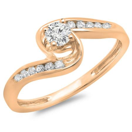 18k White Gold Twist (0.36 Carat (ctw) 18K Rose Gold Round Diamond Ladies Twisted Swirl Bridal Engagement Ring 1/3 CT)